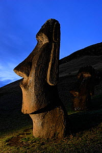 Moai stone statue at dusk on the slopes of the quarry at Rano Raraku volcano, Easter Island Pacific ocean, November 2004 - Oriol Alamany