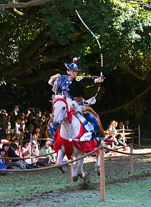 A traditionally dressed samurai (warrior) from the Takeda School of Horseback Archery and mounted on a galloping horse aims an arrow at one of the three targets, during a Yabusame (Japanese mounted ar...  -  Kristel Richard