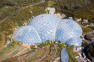 Aerial view of the Eden Project. St Austell, Cornwall. England. UK April 2010 - Dan Burton