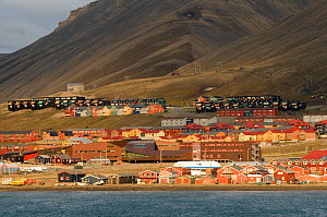 Colorful Norwegian settlement of Longyearbyen, a coal mining town, year round population is approximately 2060, located in Isfjorden, western Svalbard, Norway. July 2009  -  Steven Kazlowski