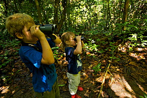 Young brother and sister (both model released) exploring tropical rainforest and looking through binoculars, Danum Valley Conservation Area, Sabah, Borneo, Malaysia, July 2007  -  Tim Laman