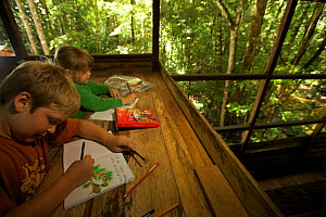 Two young children (brother and sister-model released) working on their journals at a research station in tropical rainforest, Borneo. July 2007  -  Tim Laman