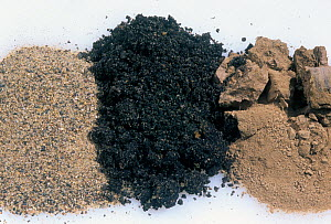 Soil types from left to right: sand, loam, and clay. - Visuals Unlimited