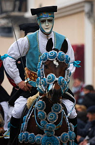 Portrait of a masked rider on a horse (Equus caballus) from the Gremio di Falegnami parades before the start of the 'Sartiglia' (race to the star)  in Oristano, Sardinia, Italy. February 2010  -  Kristel Richard