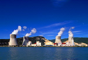 Cruas Nuclear Power Station on the River Rhone. France  -  Visuals Unlimited