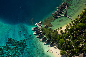 Aerial view of tourist lodges on Bora Bora Island, Society Islands, French Polynesia. July 2006 - Tim Laman