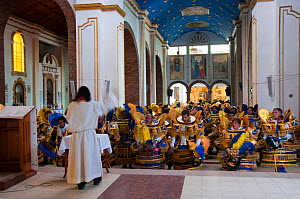 A group of costumed dancers from the Oruro Carnival, sitting and bowing to the virgin in a Cathedral, Bolivia, February 2009. - RHONDA KLEVANSKY
