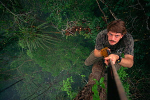 Self portrait of biologist / photographer, Tim Laman, climbing a rope into the rainforest canopy in Borneo. Gunung Palung National Park, Borneo, West Kalimantan, Indonesia - Tim Laman