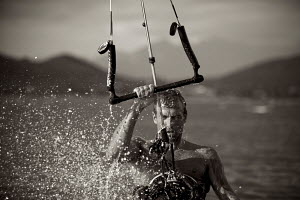 Kite-surfer Matthius Larsen, Cape Town, South Africa, March 2010. Model released.  -  Charlie Dailey