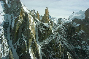 Aerial view of Trango towers in the Karakoram Mountains, Himalayas, Pakistan, from Pakistani military helicopters for BBC series Planet Earth April 2005 - Jeff Wilson