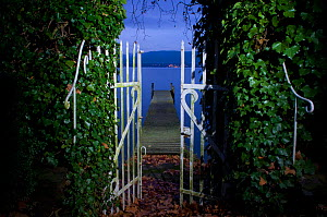 Landscape of Lake Leman at night, viewed through gateway. December 2009.  -  Laurent Geslin