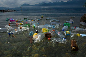 Plastic bottles and other pollutants floating on the surface, Lake of Geneva, France. March 2008.  -  Laurent Geslin