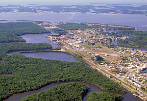 Aerial view of Everglades City on the edge of the Everglades, Florida, USA.  -  Visuals Unlimited