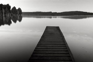 Reflection of jetty and trees in calm water, Biarritz, France, October 2010. - Charlie Dailey