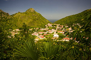View of 'The Bottom' on Saba Island in the Dutch Caribbean, Netherlands Antilles, West Indies. August 2006.  -  Michele Westmorland