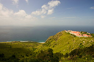 View of coastline and school buildings, The Bottom, Saba Island in the Dutch Caribbean, Netherlands Antilles, West Indies. August 2006.  -  Michele Westmorland