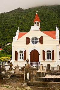 Church and graveyard, The Bottom,  Saba Island in the Dutch Caribbean, Netherlands Antilles, West Indies. August 2006.  -  Michele Westmorland