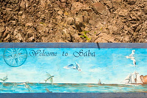 Mural at docking area, Saba Island in the Dutch Caribbean, Netherlands Antilles, West Indies. August 2006.  -  Michele Westmorland