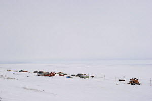 Sachs harbour village in the snow, Banks Island, Northwest Territories, Canada, August 2010 - Eric Baccega