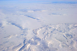 Aerial view of Mackenzie river and delta in winter, North West Territories, Canada, August 2010 - Eric Baccega