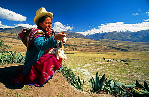 Quechua woman in traditional dress spinning wool, Andes mountains, Peru. - John Waters
