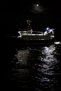 "Fishing vessel ""Harvester"" trawling on the North Sea at night, September 2010. Property released.  -  Philip Stephen"