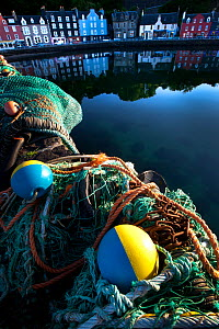 Fishing nets at Tobermory harbour, Isle of Mull, Scotland.  -  Alex Hyde