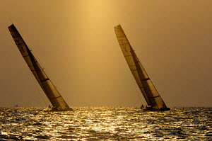 """BMW Oracle"" and ""All4One"" racing in low light during Round Robin 1 of the Louis Vuitton Trophy. Dubai, United Arab Emirates, November 2010. Non-editorial uses must be cleared individually.  -  Franck Socha"