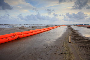 Slickbar oil booms on the beach at Grand Isle, used in the clean up and containment of hazardous oil, from the BP Deepwater Horizon spill in the Gulf of Mexico. Jefferson Parish, Louisiana. USA, July... - Gerrit Vyn