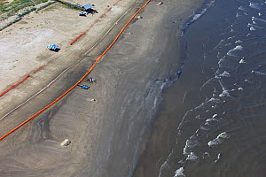 Aerial view of Slickbar oil booms on the beach at Grand Isle, used in the clean up and containment of hazardous oil, from the BP Deepwater Horizon spill in the Gulf of Mexico. Jefferson Parish, Louisi...  -  Gerrit Vyn