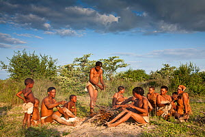 Kalahari bushmen, family group preparing food in the bush, rainy season, Central Kalahari Desert, Botswana, March 2009  -  Christophe Courteau