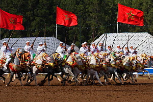 Traditionally dressed Berber warriors, mounted on Barb and Arab Barb horses, galloping in formation raising their guns during the Fantasia in Dar Es Salam, Morocco, June 2010 - Kristel Richard