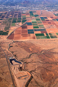 Agriculture in the Sonoran Desert view eastward toward Scottsdale and the greater Phoenix area, Arizona, USA. Note the winding aqueduct. October 2006  -  Visuals Unlimited