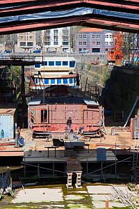 Replica of the Medway Queen, the last estuary pleasure paddle steamer in the UK, under construction in the Albion drydock, Bristol, England, April 2010. Property released. - Toby Roxburgh