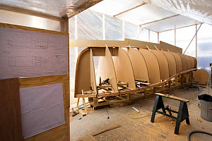 Hull of wooden cutter under construction at the Underfall Yard, Bristol, England, April 2010.  -  Toby Roxburgh