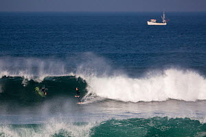 Surfer on a wave in Booby's Bay with boat beyond, Cornwall, England, August 2010.  -  Toby Roxburgh