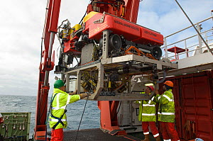 Launching ROV Isis (remotely operated vehicle) from James Cook research vessel over the mid Atlantic ridge, June 2010 - David Shale