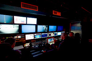 ROV (Remotely operated vehicle) Isis Control room on board James Cook research vessel for research into mid Atlantic ridge, May 2005 - David Shale