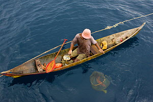 At sea off the Fak Fak Peninsula, a lone fisherman in a canoe has caught a variety of fish including jacks, snappers, and groupers. Visible below the water, is a net holding a grouper he is keeping a...  -  Tim Laman