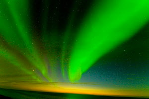 Northern lights (Aurora borealis) across the night sky, over the Beaufort Sea, off shore from the 1002 area of the Arctic National Wildlife Refuge, Alaska September 2009  -  Steven Kazlowski