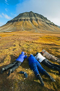 Four people lying on ground photographing Arctic / Scheuchzer's cotton grass (Eriophorum scheuchzeri) Edgeoya (Edge Island) Svalbard, Norway 2010  -  Kevin Schafer