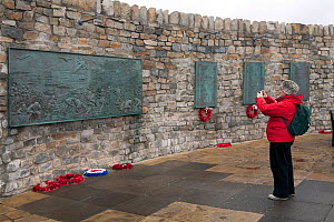 Woman photographing Falklands War Memorial in Stanley, Falkland Islands, 2009.  -  Bryan and Cherry Alexander