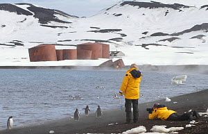 Tourists photographing Gentoo penguins (Pygoscelis papua) at Whalers Bay, with the abandoned whaling station beyond. Deception Island, South Shetland Islands, Antarctica, 2009.  -  Bryan and Cherry Alexander
