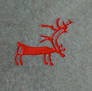 Copy of rock carving of a reindeer from the Alta area of North Norway.  -  Bryan and Cherry Alexander