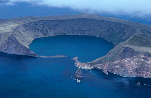 Aerial view of volcanic crater, Saint Paul Island in Indian Ocean, Sub-antarctic, Territory of the French Southern and Antarctic Lands, December 1999 - Eric Baccega