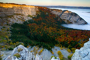 The Creux du Van cirque, an amphitheatre-like valley head shaped by glacial erosion. Seen in autumn, partly hidden by clouds. Switzerland - Laurent Geslin