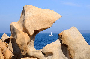 Distant sailing-boat viewed though weather sculpted granite boulders. Campomoro point, Corsica, France, June 2010. - Nick Upton