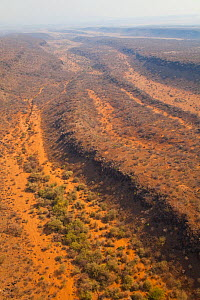 Aerial view of the trench of the Great Rift valley, Tanzania, Africa, August 2009 - Juan Carlos Munoz