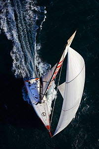 "Aerial view of IMOCA open 60 ""President"" training ahead of the Barcelona World Race. Port la Foret, Brittany, France, November 2010.  -  Benoit Stichelbaut"