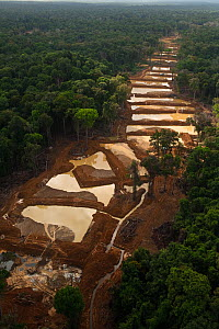 Aerial view of Alluvial Gold Mine in the rainforest, Guyana , December 2009  -  Pete Oxford
